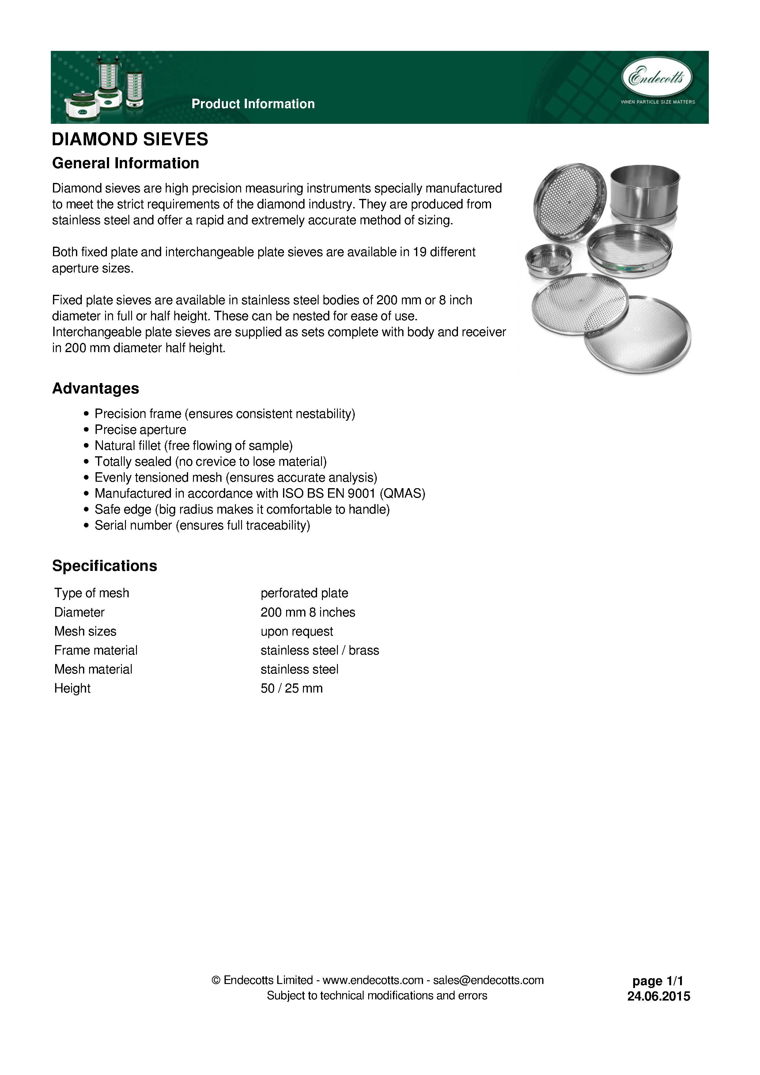 Diamond Sieves, 19 different aperture sizes, Dia. 200 or 8 inch